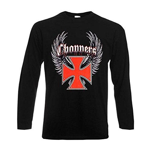 Longsleeve Choppers wings and red iron cross, bedrucktes american style Funshirt, Motorrad Biker Rocker langarm T-Shirt große Größen S-6XL (ABC00229) Schwarz