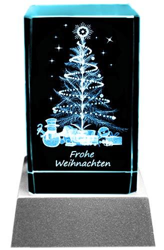 Kaltner Präsente Stimmungslicht - Das perfekte Geschenk: LED Kerze/Kristall Glasblock / 3D-Laser-Gravur Weihnachtsbaum FROHE WEIHNACHTEN