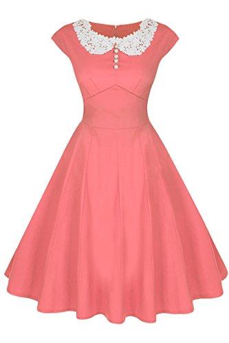 ACEVOG Rétro Vintage Robe Années 50 's Style Audrey Hepburn Rockabilly Swing,Plissé Robe de Soirée Cocktail Cérémonie pour Mariage Robe de Bal à Manches Courtes - Rose - Taille XL