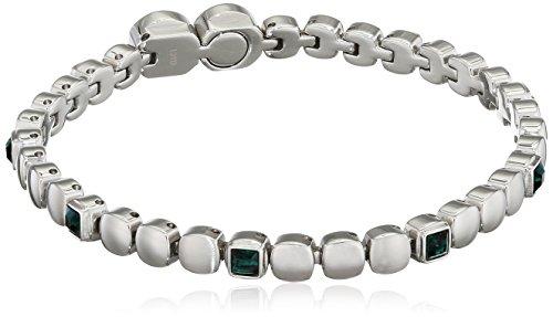 Gioiello breil collezione rolling diamonds, bracciale da donna in acciaio misura 20cm con con pietre - tj1457