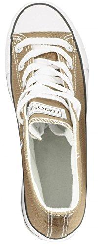 Elara Unisex Sneaker   Sportschuhe für Herren Damen   High Top Turnschuh Textil Schuhe 36-47 Khaki