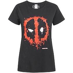 Deadpool Marvel Splat Mask Logo Women's T-Shirt (M)