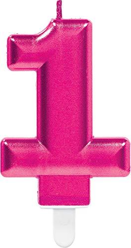 Amscan 9901712 Pink Party Kuchenkerze Kerze schimmernd Zahl - Muffin Mädchen Kostüm