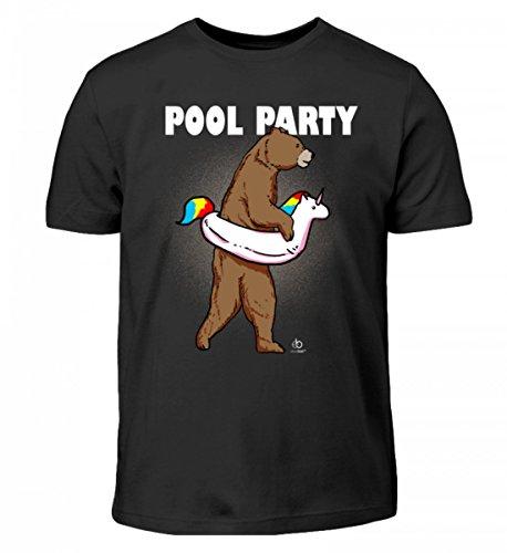 Bear Unicorn Pool Party Bär Einhorn Einhörner Unicorns Schwimmer Schwimmen Swim Geschenk - Kinder T-Shirt