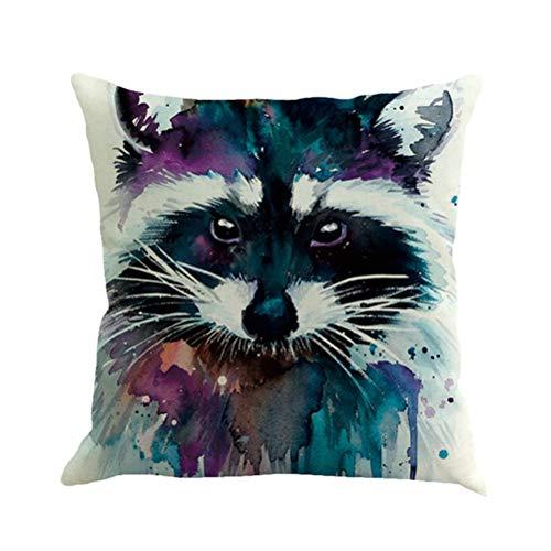 HUAHAO Coussin 45 * 45CM Coton Lin de Coussin de lit de câlin de Sofa de Salon Simple sans Noyau d'oreiller,Animal littéraire Imprimer