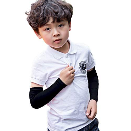 Tandou Armlinge Kinder UV-Schutz Arm Sleeve Outdoor Sport Volleyball Outdoor Fußball (Schwarz) (Orange Basketball-arm-sleeve)