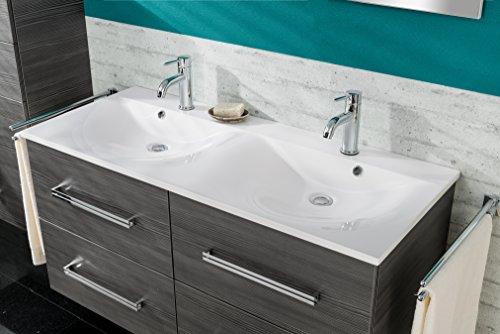 Bad Doppelwaschbecken (Fackelmann Doppel Waschbecken Gussmarmor 120 cm weiß Bad Programm: Como)