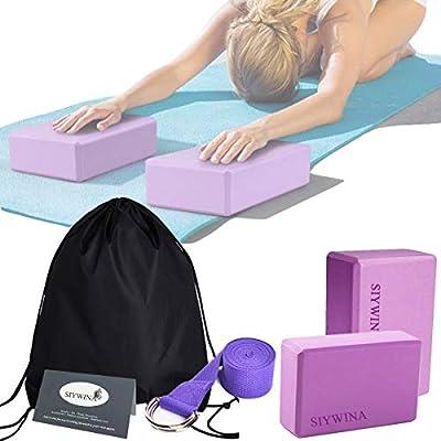 SIYWINA Yoga Blöcke Yogagurt set Yogablock ür Blockaden Training Dehnübungen Anfänger und Fortgeschrittene