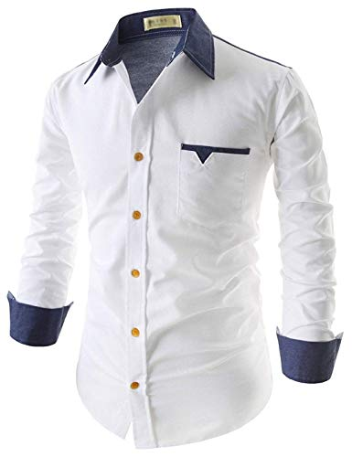 Tryme Fashion Men's Cotton Casual White Shirt for Men Full Sleeves (White, Large - 42)