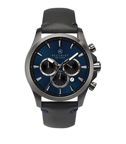 Accurist Mens Analogue Quartz Watch With Black Leather Strap And Blue Dial 7180