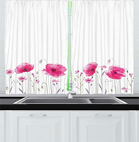 ERCGY Floral Kitchen Curtains, Mass of Flower Glade with Poppy Petals Summer Garden Theme Field Elements Artwork Print, Window Drapes 2 Panel Set for Kitchen Cafe Decor, 120 inch X 66 inch, Pink -