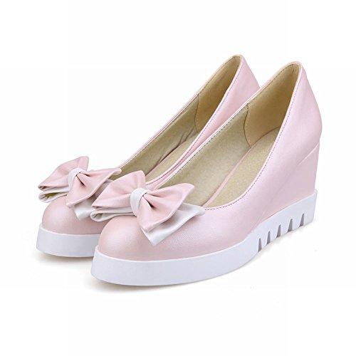 Mee Shoes Damen süß modern bequem frisch Geschlossen ohne Verschluss Keilabsatz mit Schleife Blockabsatz Plateau Pumps Pink