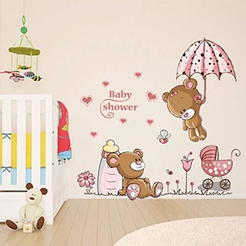 Cartoon Katze Kaninchen Blumen Wandaufkleber fuer Baby Kind Zimmer Hause Dekor Teddybaer Regenschirm Klassenzimmer Wandtattoos -