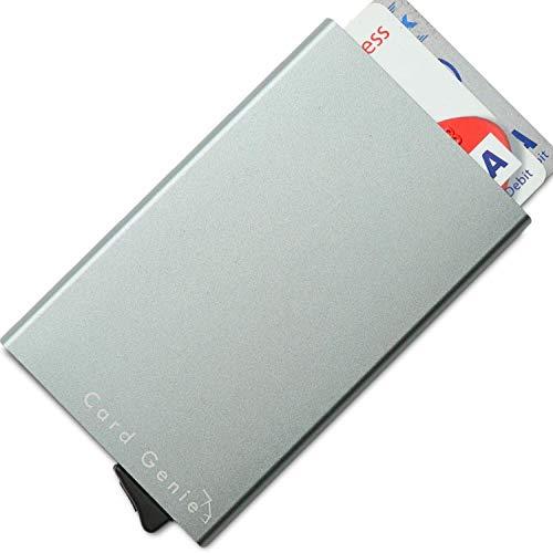 Card Genie – Kartenetui aus Edelstahl mit Karten-Gleitsystem – Kreditkartenhülle mit RFID und NFC Blocker – Schutz vor Datendiebstahl – dünner Kartenhalter für 6 Karten