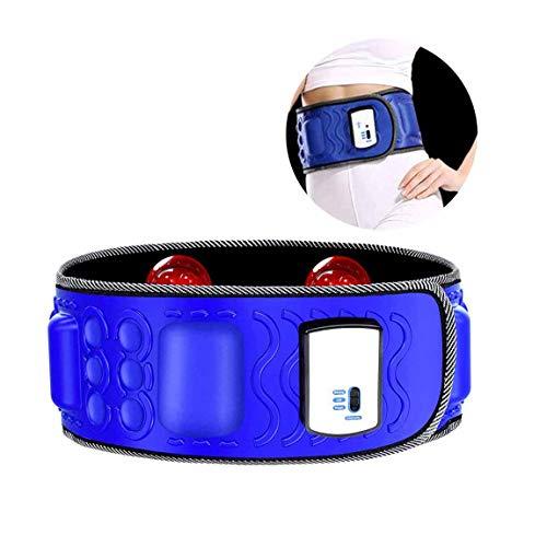 LLYY® Massage-Gürtel, Gürtel Abnehmen Bauch Vibrationsgürtel mit Wärmefunktion Bauchweggürtel Elektrischer Massage Bauchfett Verbrennen Fitness(Blau)