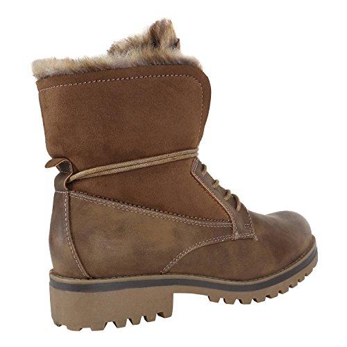 Stiefelparadies Warm Gefütterte Damen Stiefeletten Worker Boots Kunstfell Schuhe Flandell Khaki Carlton