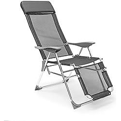 Relaxdays Silla de salón reclinable plegable con 3 posiciones, 111 x 60 x 75 cm, silla plegable con funda de poliéster y reposabrazos relajante con marco de aluminio para muebles de patio, camping, playa o piscina