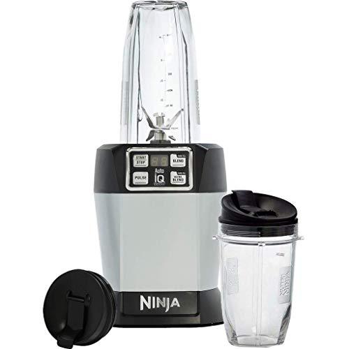 Shark Ninja BL480 Blender, Servicio Individual, Auto-Iq, 1000 W, Acero Inoxidable, Negro/Plateado