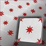 1m² Zementfliesen orientalische Fliesen spanische Musterfliesen VIntage Dekorfliesen Stern (rot auf weiß)