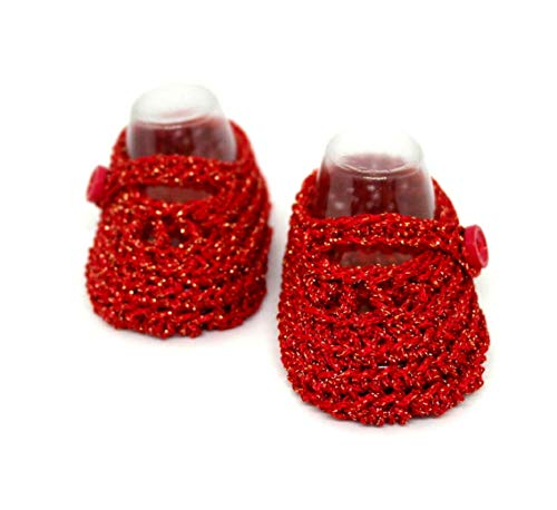 Baby mädchen booties, Gehäkelte babyschuhe, Mary Jane schuhe, Sommerschuhe, Rote babyschuhe, Baby-Dusche-Geschenk, Baby girl, Rote glitzer booties