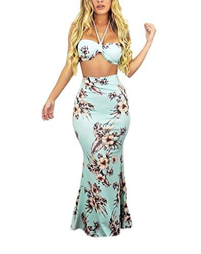 Mujer Conjuntos De Crop Top Y Faldas Largas Verano Elegantes Moda Dulce  Lindo Chic Estampado Flores 577dd727d47f