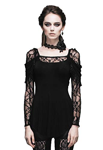 Devil Fashion Gothic Steampunk Frauen Flocking Lace V-Ausschnitt Langarm Bluse Top T-Shirt Baumwolle Sexy Slim Fitting Perspektive T-Shirt, XS