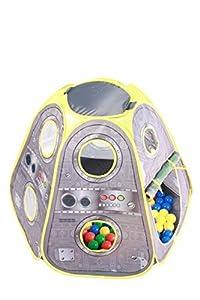 Pop Up Space Orbitor Playtent + 100 bolas de juego de colores brillantes - tienda de campaña desplegable - estilo futurista - tienda de campaña para niños - Pop Up Playtent