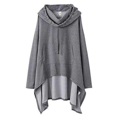 Kobay-Damen Einfarbiges Kapuzenpullover Pullover Top Langer Kapuzenpullover Einfarbiger Kapuzenumhang Mantel Cape Schal