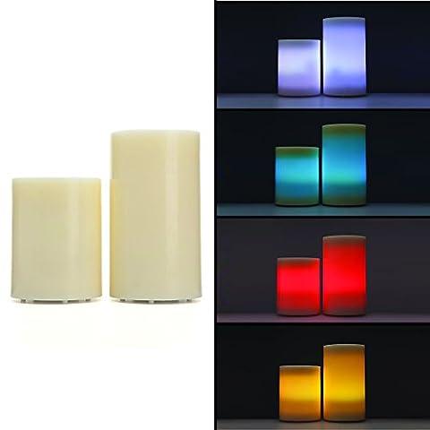 2er Set LED Echtwachskerzen Bodenkerzen XL mit Timer & Fernbedienung für Draußen - Outdoor geeignet (Riesen Licht-sets)