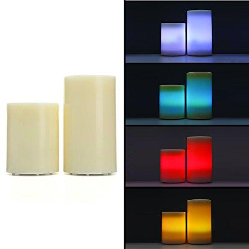 2er Set LED Echtwachskerzen Bodenkerzen XL mit Timer & Fernbedienung für Draußen - Outdoor geeignet (4er Set Creme)