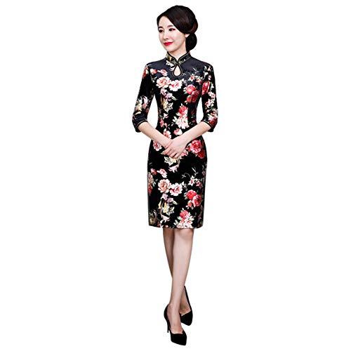 Viola OULII Cinese Cheongsam 2 Strati Stand Collare Vestito Tradizionale Cinese per Banchetti di Partito Taglia L