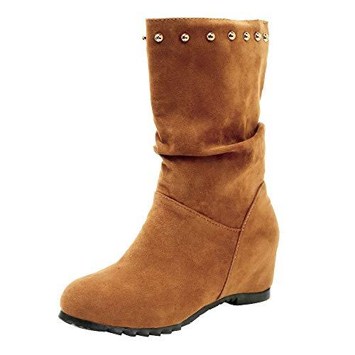 Fenverk Damen Sneaker Wedges Mit Keilabsatz Stiefel Mode Boho Party Hochzeit Niet Herbst Winter Keile Gewebte Schuhe Schnalle Ferse Stiefelette(Braun,38/38EU)