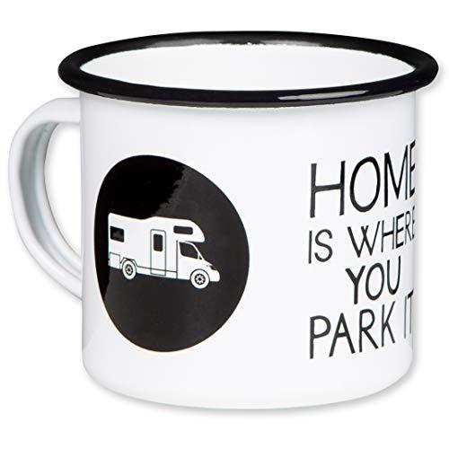 Home is Where You Park IT - Hochwertiger Emaille Becher mit Wohnmobil Alkoven Motiv - leicht und bruchsicher, für Camping und Camper - von MUGSY.de Camping-tasse