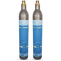 Neues Wasser Group 2x Cylindre CO2Idéal pour SodaStream Crystal Machine à gazéifier Soda Stream, Cool etc. jusqu'à 60L remous d'eau Pro Garnissage. Nouveau et rempli de CO2.