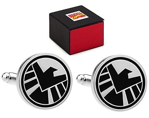 Marvel Comics Super-Héros Shield Logo Argent boutons de manchette–Comprend Boîte Cadeau Marvel Comics