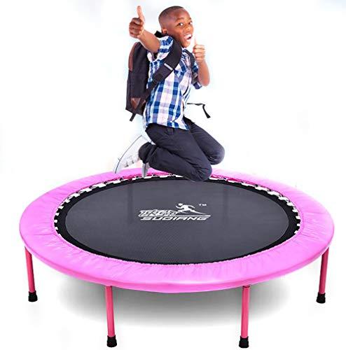 SXTYRL Trampoline füR Jumping Fitness, Faltbares Mini Gartentrampolin Outdoor Trampolin Erwachsene randabdeckung Netz stangen Mini Rand Jumping trampolinersatznetz Leiter Kinder, Pink