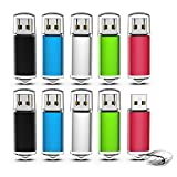 USB-Sticks 2GB, TOPESEL 10 Stück Speicherstick USB 2.0 Memory Sticks Pen Drives, Bunt 10er USB Flash Drives (5 Mehrfarbig Schwarz Blau Silber Grün Rot)