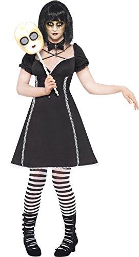 Strumpfhosen Kostüm Puppe - Smiffys, Damen Horror Puppe, Kleid und Maske, Größe: S, 21586