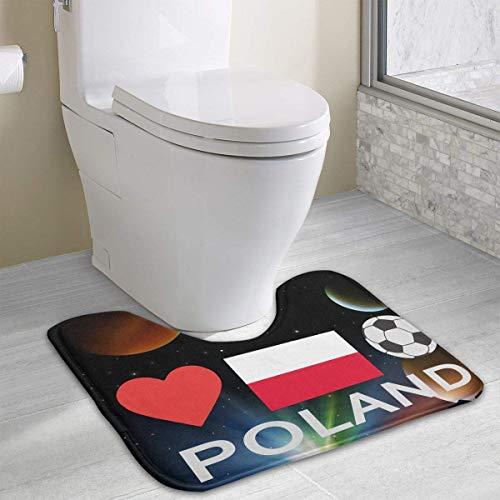 Hoklcvd Poland Football Poland Soccer U-Shaped Toilet Floor Rug Non-Slip Toilet Carpets Bathroom Carpet