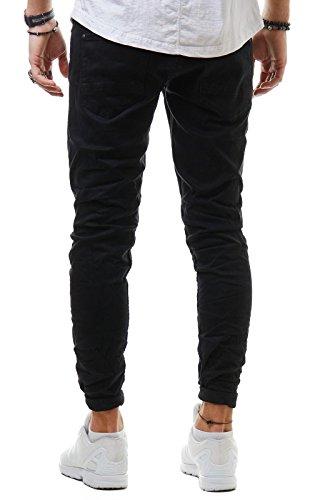 EightyFive-Herren-Jeans-Denim-Hose-Slim-Fit-Destroyed-Zerrissen-Schwarz-Wei-Khaki-EF1512-HosengreW34-L32-FarbeSchwarz-2