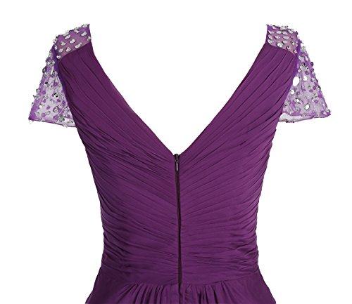 Bbonlinedress Robe de cérémonie Robe de demoiselle d'honneur asymétrique col en V longueur ras du sol Jaune