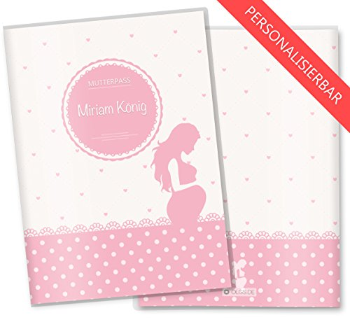 Rosa Mutterpasshülle 3-teilig mit Babybauch und Wunschnamen Personalisierung