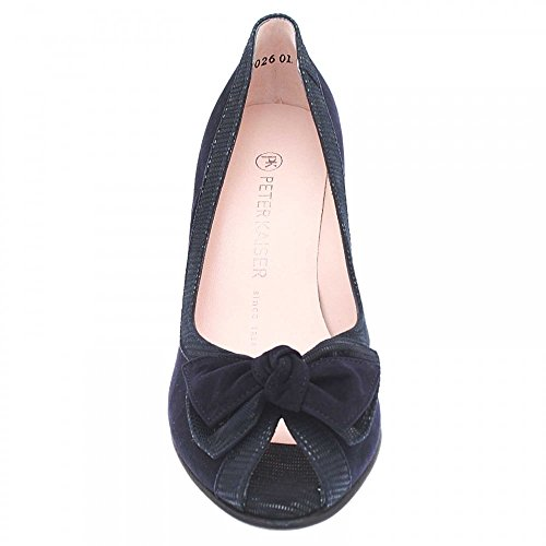 Peter Kaiser Bow Detail High Heel Peep Top Court Shoe Navy Suede