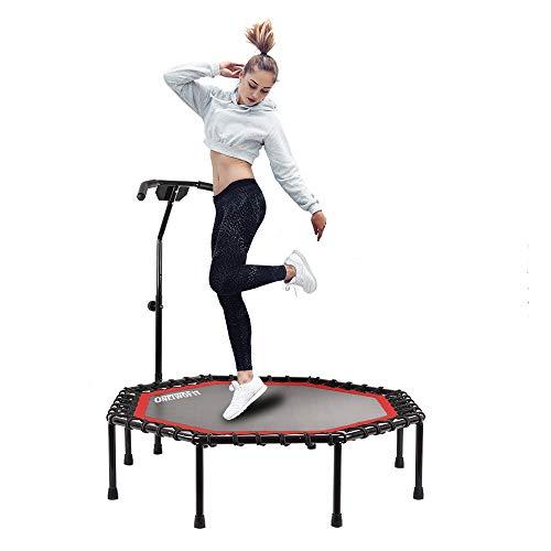 ONETWOFIT 130 cm Durchmesser Leises Trampolin mit höhenverstellbarem Haltegriff, Fitness-Trampolin Training wie im Fitness-Studio Trainer Workout für Erwachsene OT104