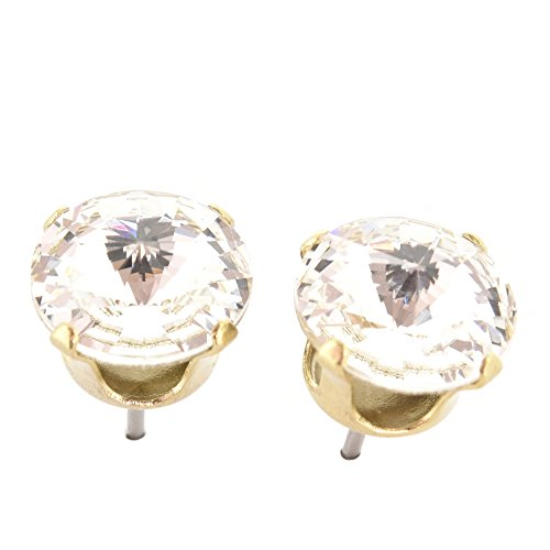 344921ccc pewterhooter 9mm Gold stud earrings made with sparkling Diamond White  crystal from SWAROVSKI®. London