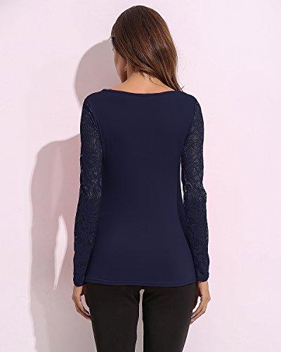 StyleDome Damen V-Ausschitt Lace up Hälken Lange Ärmel Freizeit Shirts Blau