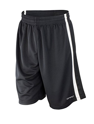 Spiro Basketball Quick Dry Shorts - Black/ White - S (Quick Shorts Dry)