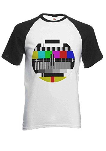 PatPat Store Test Pattern Vintage Retro TV Novelty Black/White Men Women Unisex Short Sleeve Baseball T Shirt-L