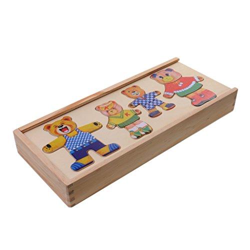 MagiDeal Holzpuzzle Spielzeug - Bär Dress-Up Bärenfamilie Kleidung wechseln Spiel Entwicklung Spielzeug