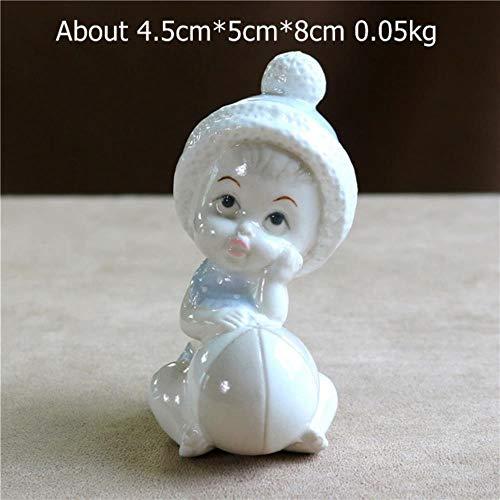 WDDqzf Ornaments Skulptur Figur Dekoration Statuen Süße Porzellan Puppe Infant Figur Keramik Baby Mädchen Miniatur Desktop Modell Ornament Dekor Geburtstagsgeschenk Handwerk Verschönerung, Stil D, M